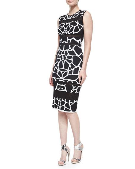 RVN Sleeveless Animal-Print Sheath Dress, Black/White