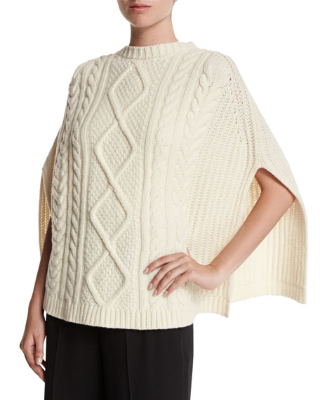 Cable Cape Knitting Pattern : RED Valentino CABLE KNIT CAPE