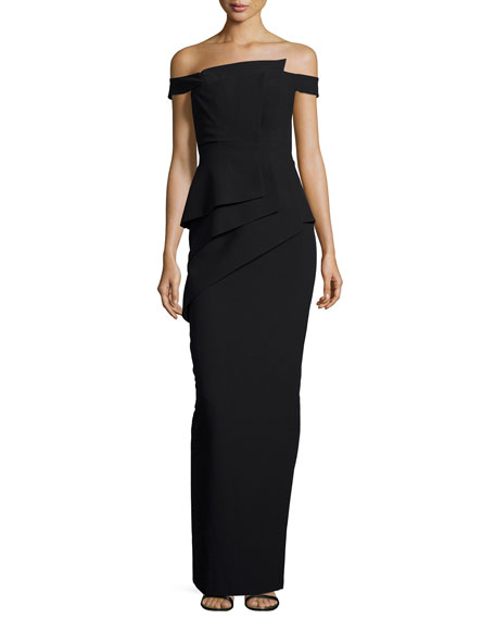 Black Halo La Reina Off-the-Shoulder Gown