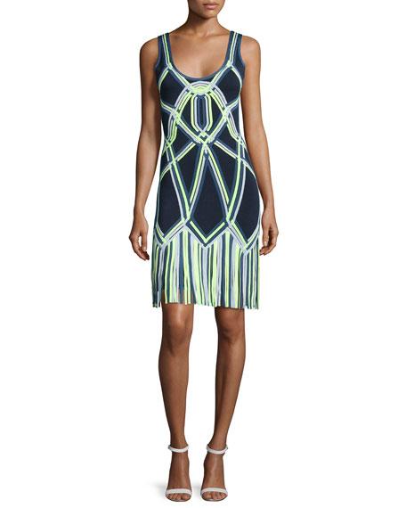 Herve LegerFringe-Bottom Knit Dress, Indigo Combo