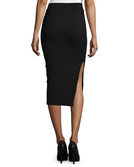Long Knit Pencil Tube Skirt