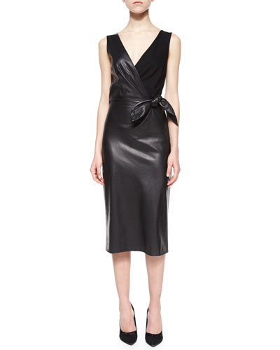 Bella Leather & Ponte Tie-Waist Sheath Dress