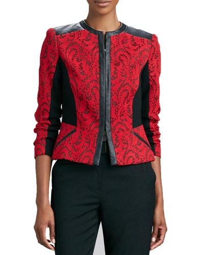 Textured Jacquard Leather-Trim Jacket