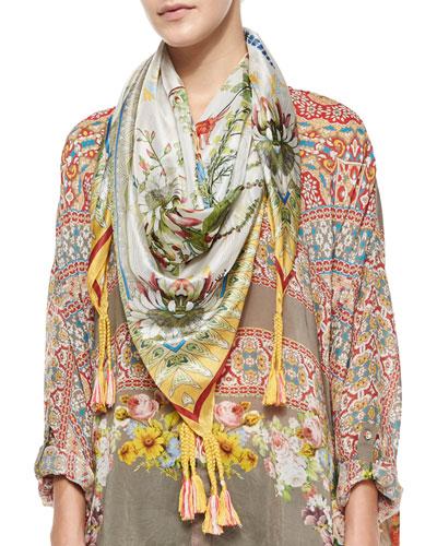 Exotic Flower-Print Silk Georgette Scarf