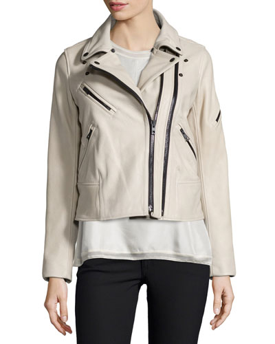 Minerva Leather Jacket w/Shearling Collar