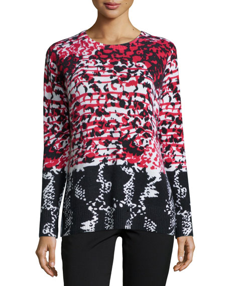 Neiman Marcus Cashmere Collection Mosaic-Print Crewneck Cashmere Top
