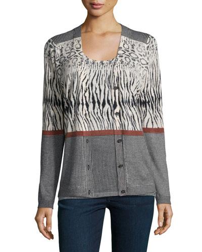 Animal-Stripe Cashmere Cardigan