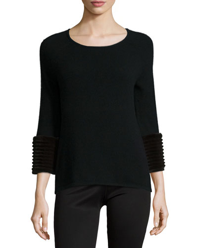 Cashmere 3/4-Sleeve Sweater W/ Fur Cuffs
