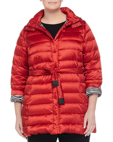 Marina Rinaldi Lugano Reversible Quilted Belted Travel Jacket,
