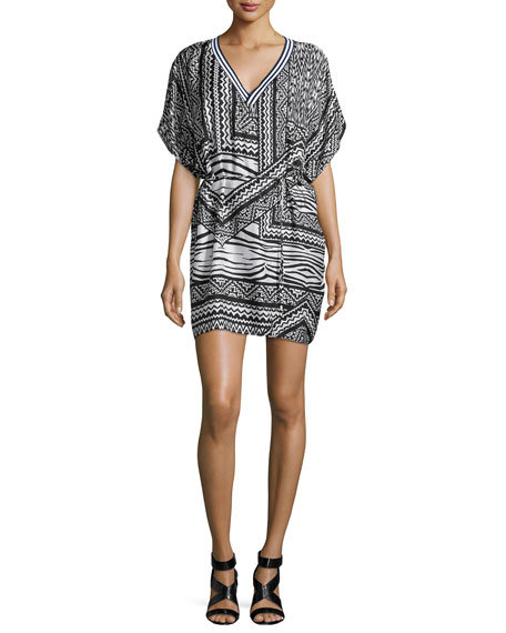 TownsenHoffman Tribal-Print Chiffon Dress, Black/White