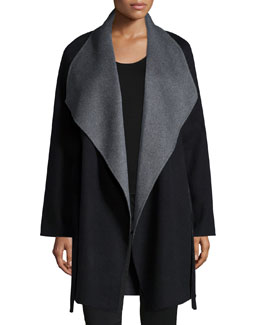 Cashmere Double-Face Two-Tone Wrap Coat