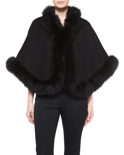 Cashmere Fox-Trim Short Cape, Black