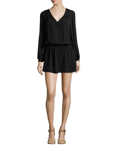 Cinched-Waist Silk Mini Dress, Black
