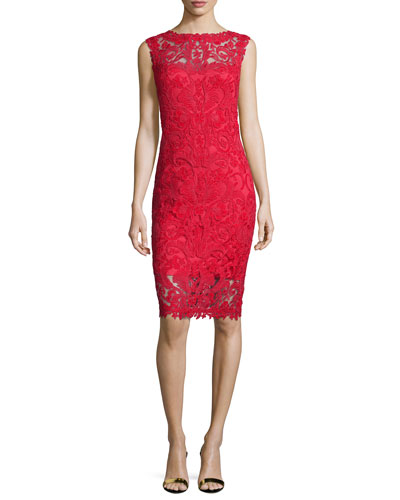 Lace Embroidered Sheath Dress, Flame