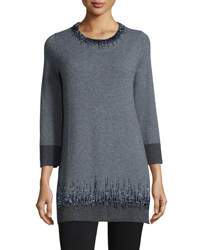 Long Cashmere Beaded-Detail Tunic