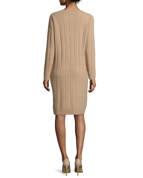 Long-Sleeve Cable-Knit Cashmere Dress