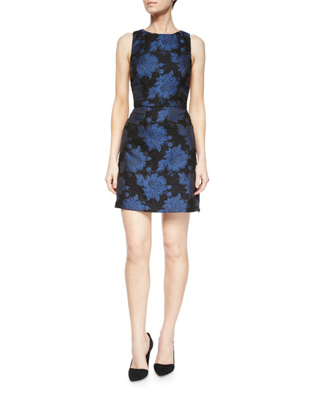 Alice + Olivia Ilene Floral-Jacquard Fitted Dress
