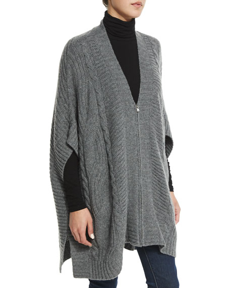 Neiman Marcus Cashmere Collection Cashmere Zip-Front Cable-Knit