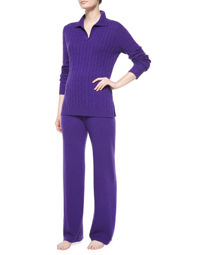 Johnny-Collar Cashmere Lounge Set