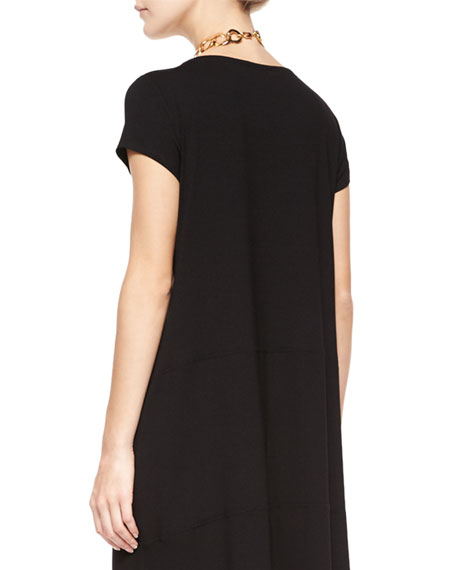 Eileen Fisher Cap-Sleeve Jersey High-Low Dress, Plus Size