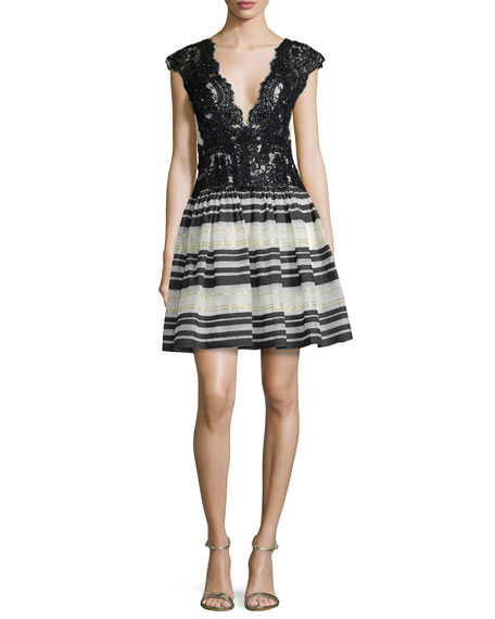 Cap-Sleeve Lace-Top Striped Cocktail Dress