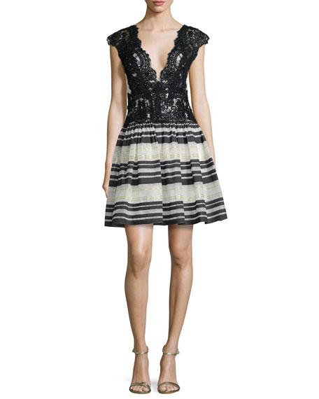 Marchesa Notte Cap-Sleeve Lace-Top Striped Cocktail Dress