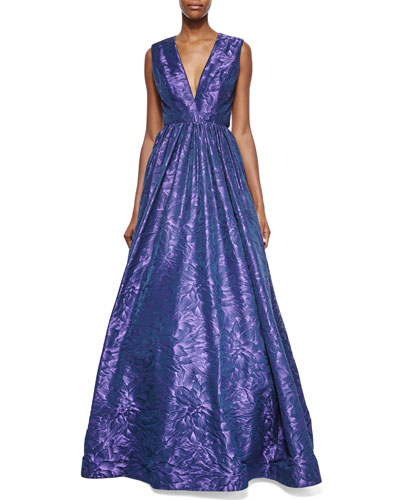 Sleeveless Floral-Jacquard Open-Back Ball Gown, Amethyst