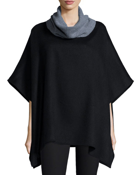 Neiman Marcus Cashmere Collection Ribbed Cowl-Neck Cashmere Poncho