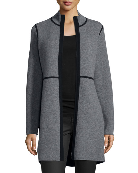 Neiman Marcus Cashmere Collection Reversible Cashmere Double-Knit Jacket