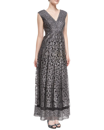 Sleeveless Fleur de Lis Lace Gown, Smoke