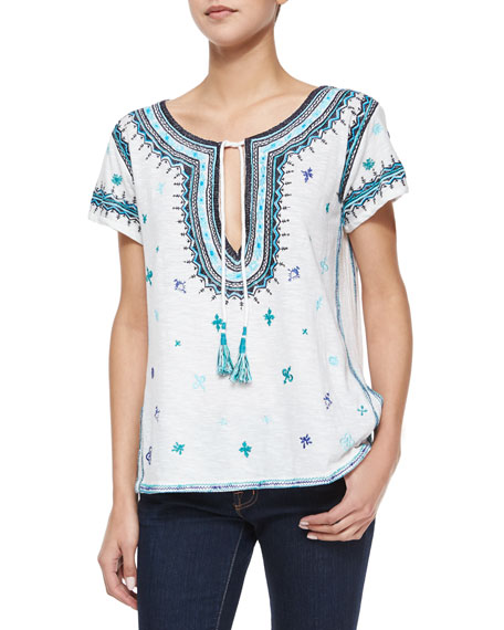 Admar Embroidered Jersey Tee, White