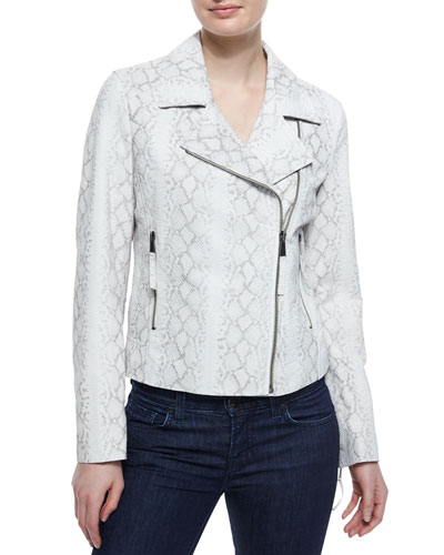 Python-Print Moto Leather Jacket
