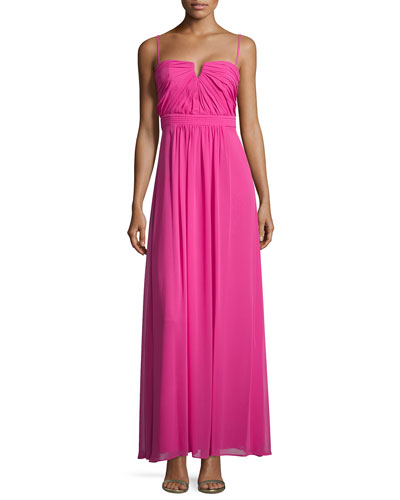 Sweetheart Sleeveless Pleated Gown, Neon Watermelon