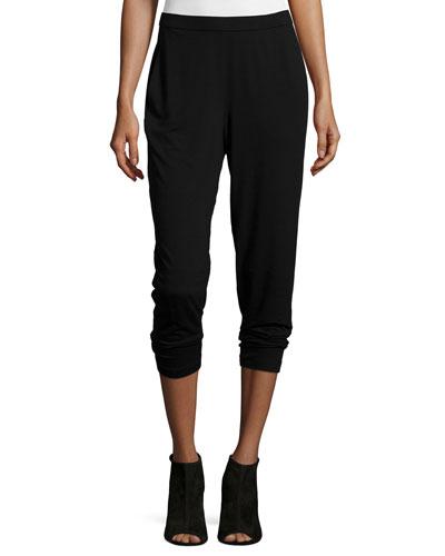 Slim Slouchy Ankle Pants, Black, Petite