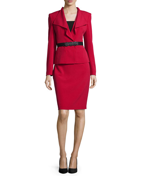 Long-Sleeve Ruffled-Front Belted Skirt Suit