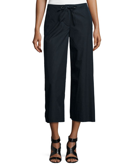 Eileen Fisher Fisher Project Wide-Leg Cropped Pants, Black