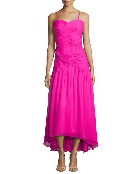 Strapless Twist-Front Gown, Fuchsia