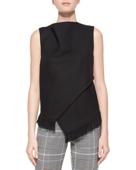 3.1 Phillip Lim Sleeveless Wrap-Front Fringe Top, Black