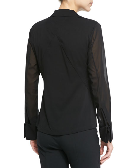 Sheer Long-Sleeve Blouse with Collar