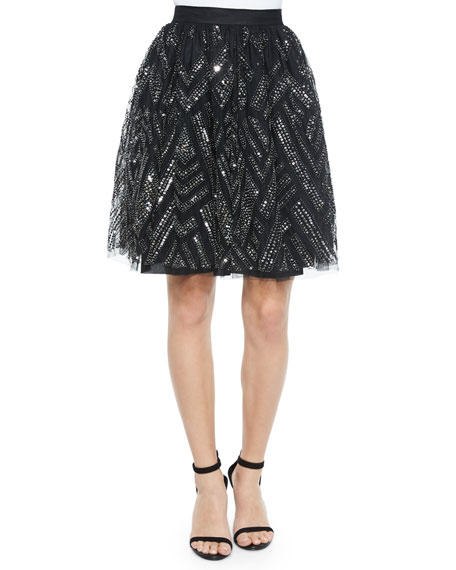 Parker Switch Geometric Beaded Skirt, Black/Silver