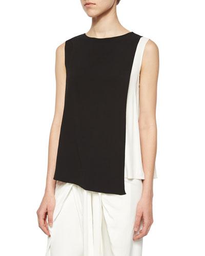 Sleeveless Bi-Color Top, Black/White