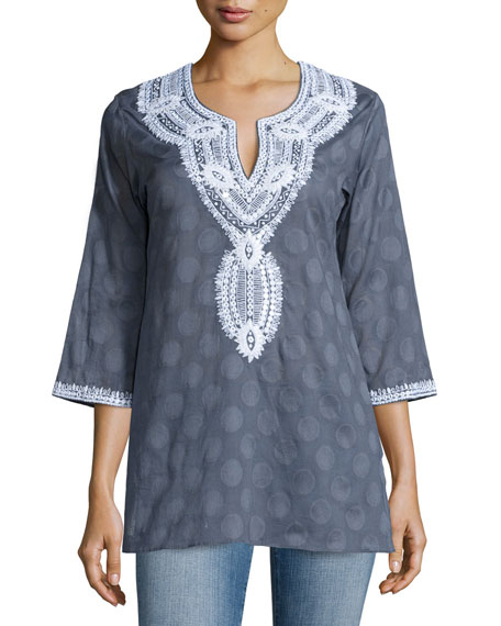 Sulu Collection Aria Embroidered Cotton Tunic