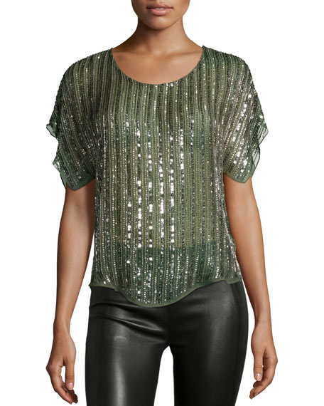Parker Everest Sequin-Striped Blouse, Spruce