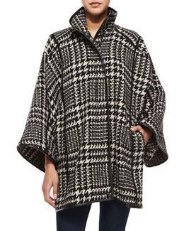 Plaid-Houndstooth Leon Coat, Black/Ivory