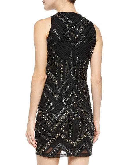 Parker Rodan Studded Leather-Trim Dress, Black