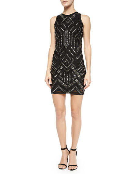Parker Rodan Studded Leather-Trim Dress, Black