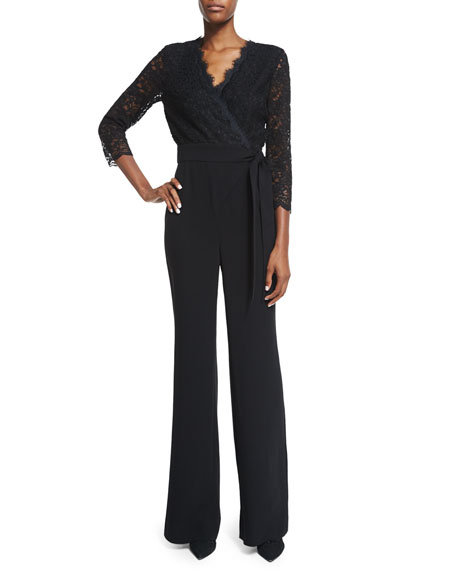 Diane von Furstenberg Marlowe Long-Sleeve Jumpsuit, Black