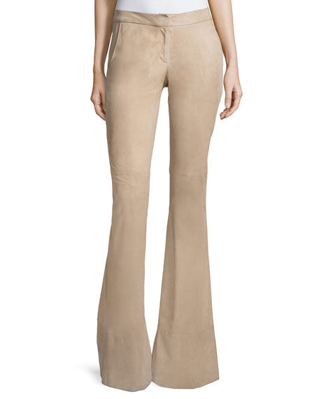 Alexis Rania Suede Flare Pants, Clay