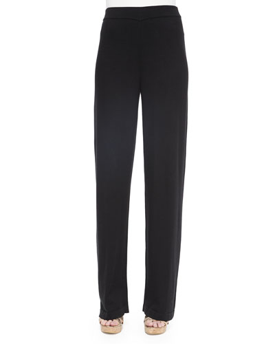 High-Waist Straight-Leg Pants, Black