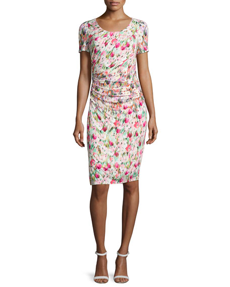 Kay Unger New York Short-Sleeve Floral-Print Ruched Jersey